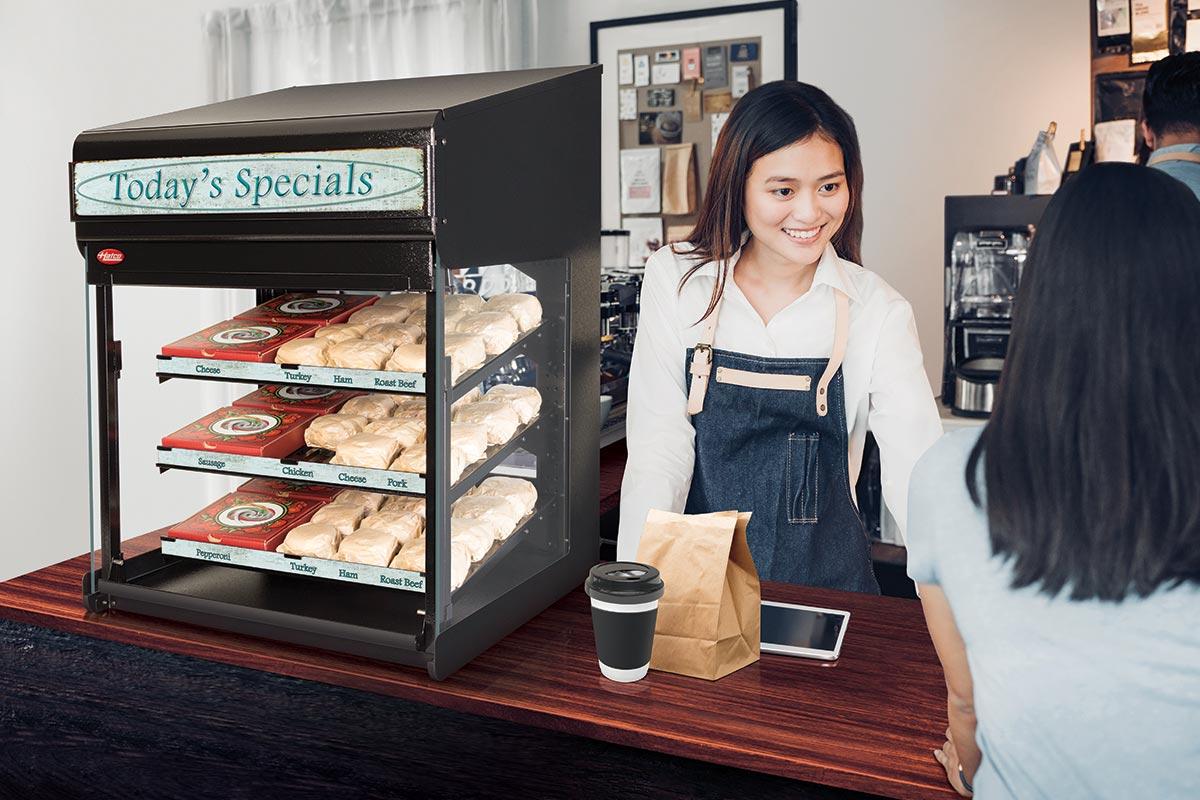 Hatco Merchandiser with Slanted Shelves