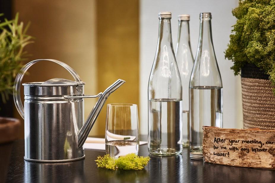 Reusable glass water bottles at Hyatt