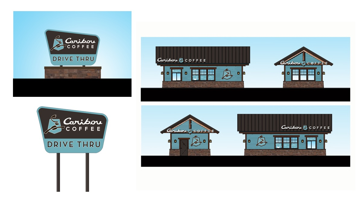 A rendering shows the drive-thru at the new Caribou Cabin concept