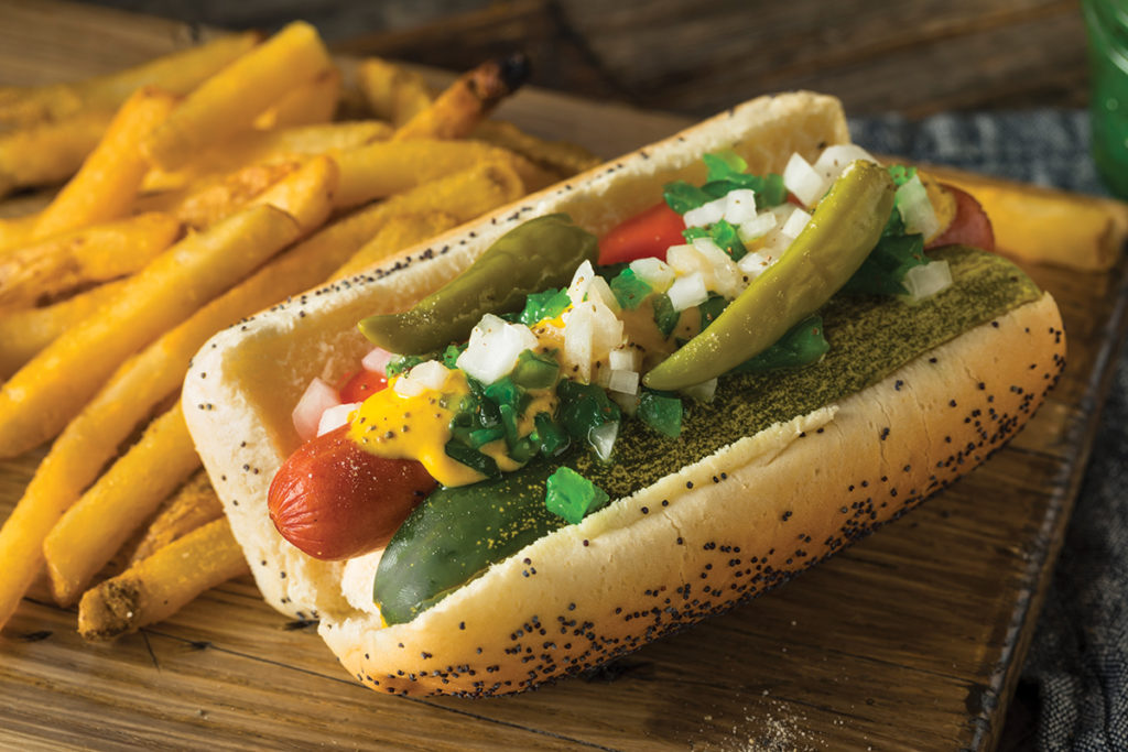 Homemade Chicago Style Hot Dog with Mustard Pickles Relish Tomato and Peppers