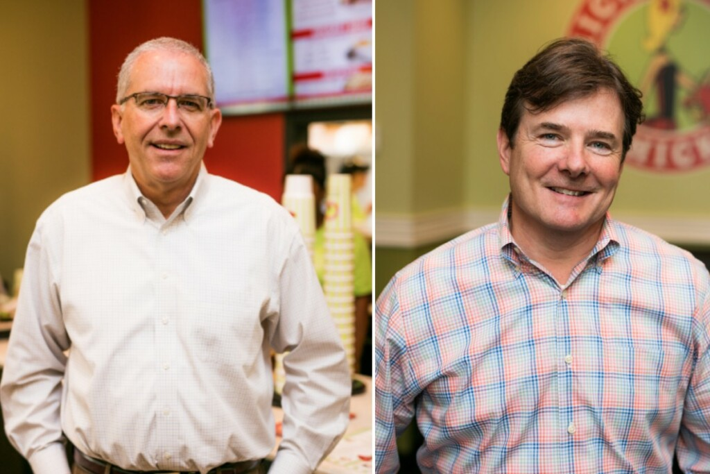 Terry McKee (left) and Tom Carr were recently promoted to the C-suite of Chicken Salad Chick.