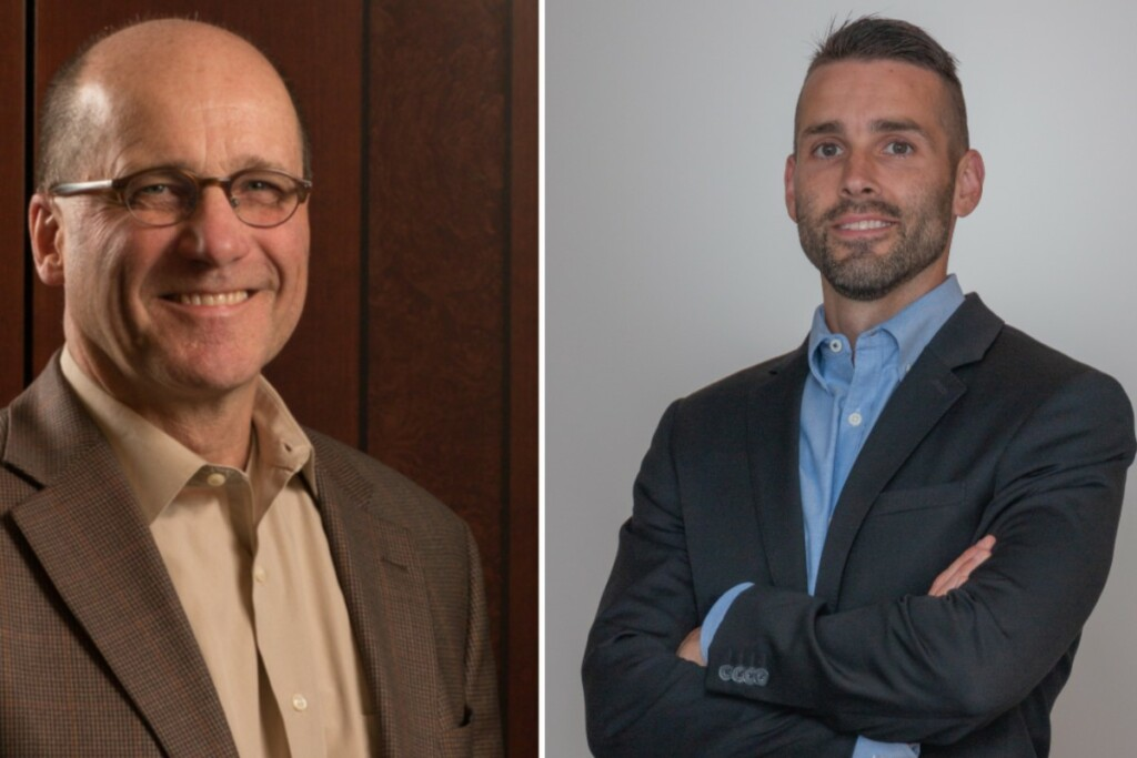 From left to right: Elkay outgoing CFO John Pendergast and new CFO Bryan English.