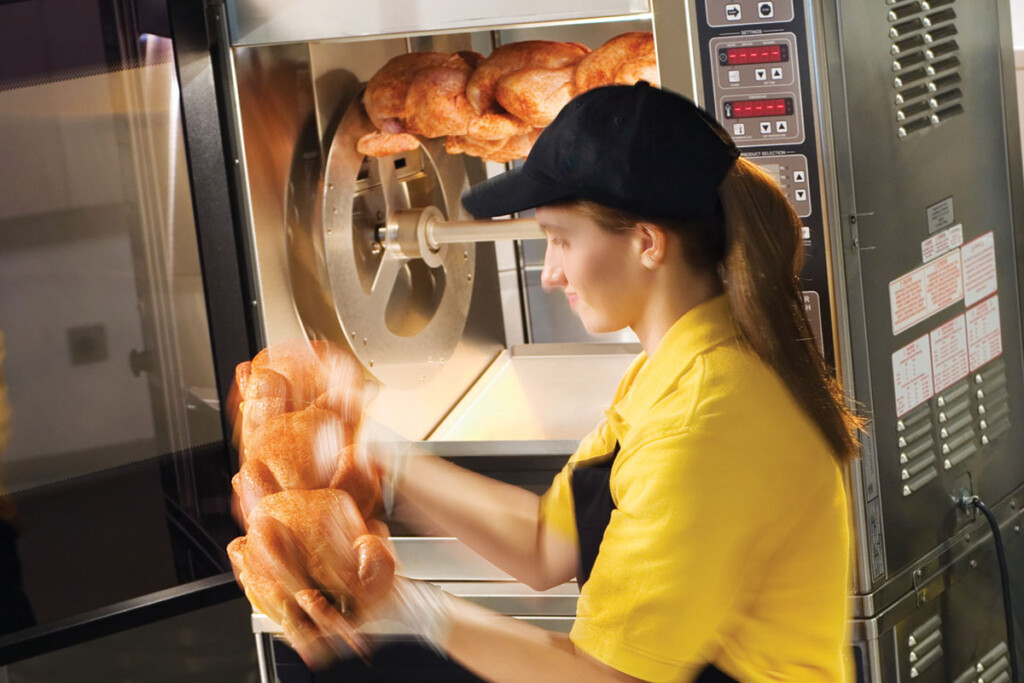 Rotisserie ovens can hold anywhere from eight to 80 chickens so, think through your capacity requirements. Also consider whether your operation demands a continuous- or batch-cooking model and gas or electric power. Courtesy of Rotisol.