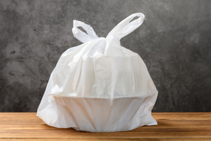 Plastic restaurant takeout bag