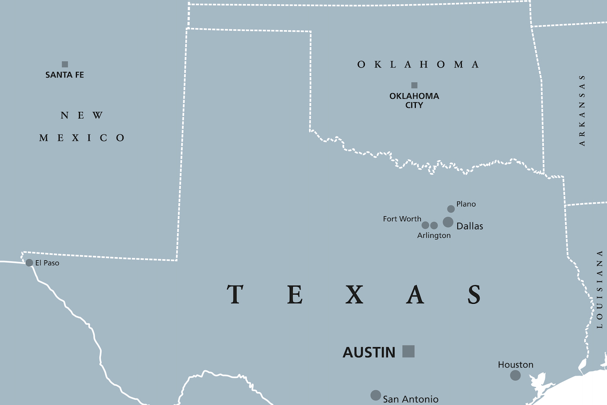 Map Showing Texas and Oklahoma