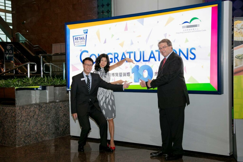 UBM HKES General Manager Daniel Cheung (left)—pictured at Retail Asia Expo & Conference in 2019 with Monica Lee-Muller, managing director of HML, and Michael Duck, EVP of commercial development at Informa Markets—will retire this May. Photo Courtesy of Hong Kong Convention and Exhibition Centre/Facebook