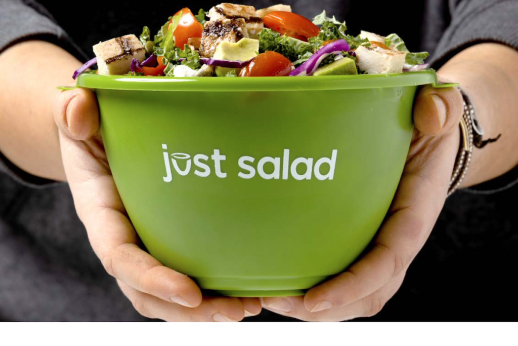 Just Salad has publicly committed to various sustainability efforts in 2021 and beyond, including an expansion of its reusable bowl program. Photo Courtesy of Just Salad