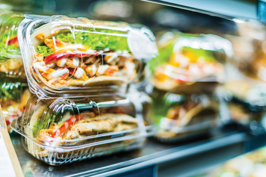 Prepackaged meals in plastic containers to go