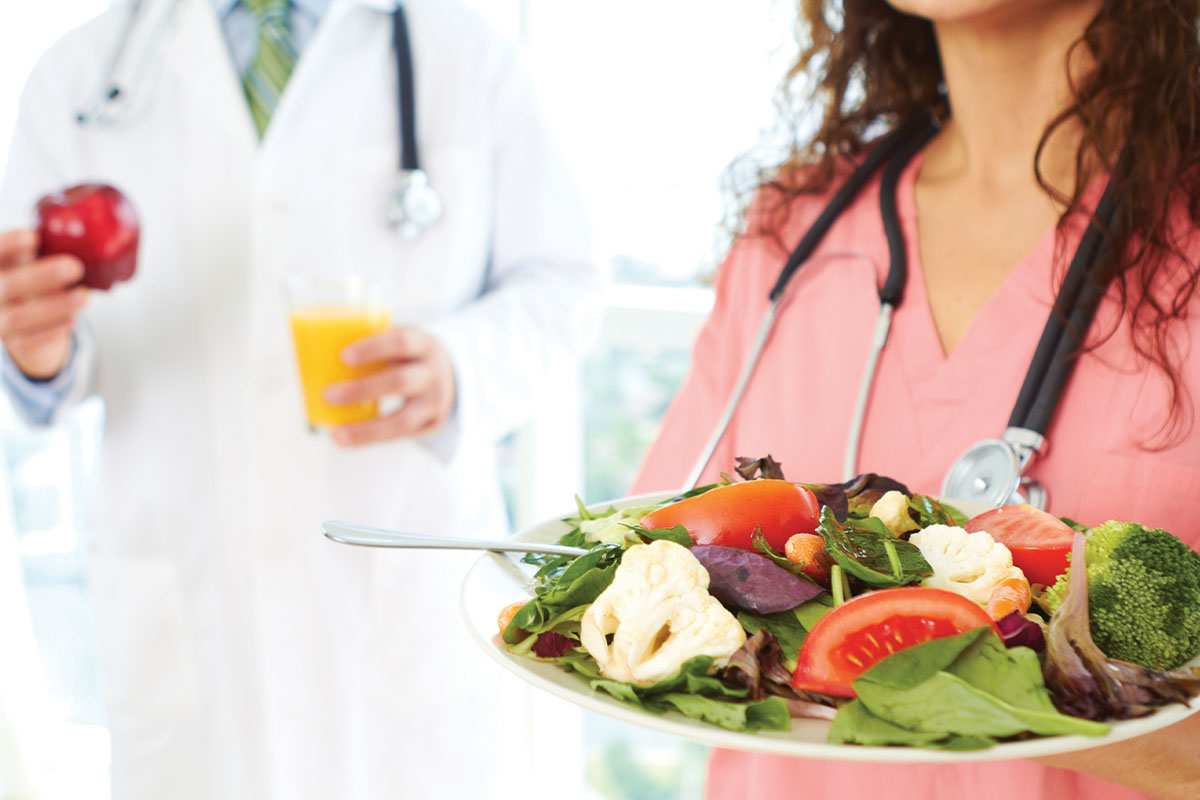 Hospital workers grabbing salad