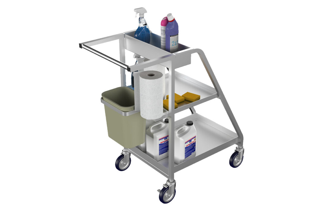 Small and constructed of aluminum, the Sanitizer Cart by Winholt serves as an all-in-one cleaning station that employees can move around and use to clean counters, fixtures and more. Fill it with cleaning supplies, paper towels and a trash bin. winholt.com