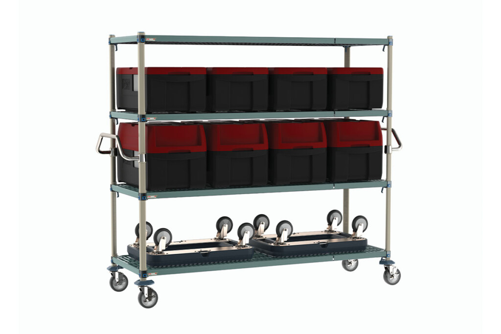 Metro's MaxQ Cart with handles allows operations to easily transport mass amounts of prepackaged meals at one time. Simply clean the carts by removing the polymer shelf mats, which come infused with antimicrobial protection. metro.com