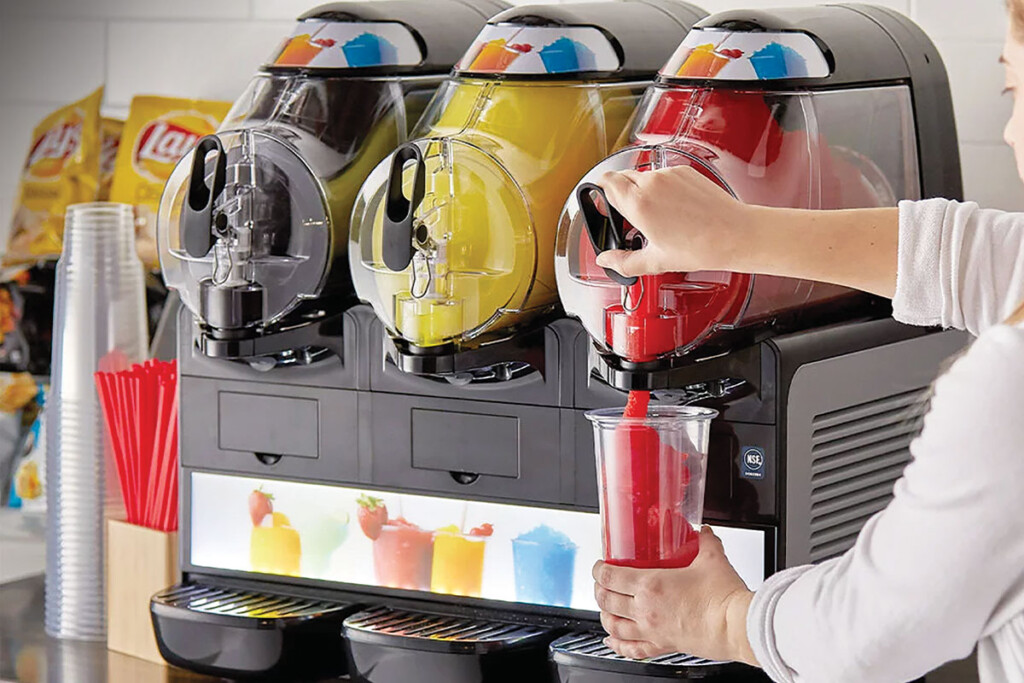 Match the size of the frozen beverage dispenser to your production needs, as well as the number of menu items you plan to sell. Units can range in size from one 6-liter bowl, to three 10-liter bowls. Courtesy of Vollrath.