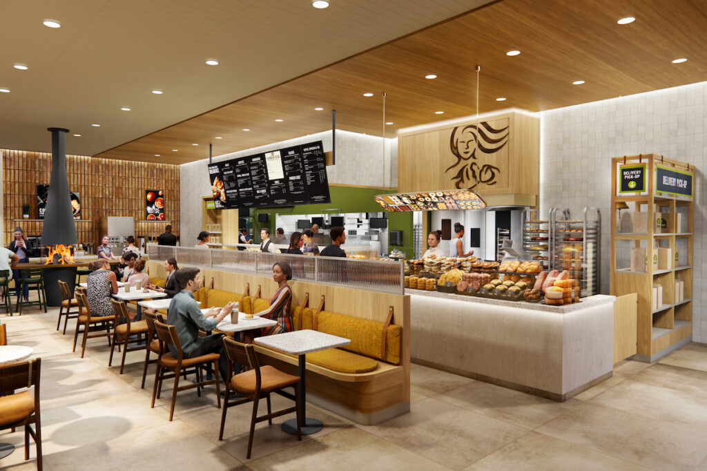 """While the new concept features plentiful off-premise upgrades, the company said it's also """"betting on dine-in"""" with features including a fireplace and more. Rendering Courtesy of Panera Bread"""