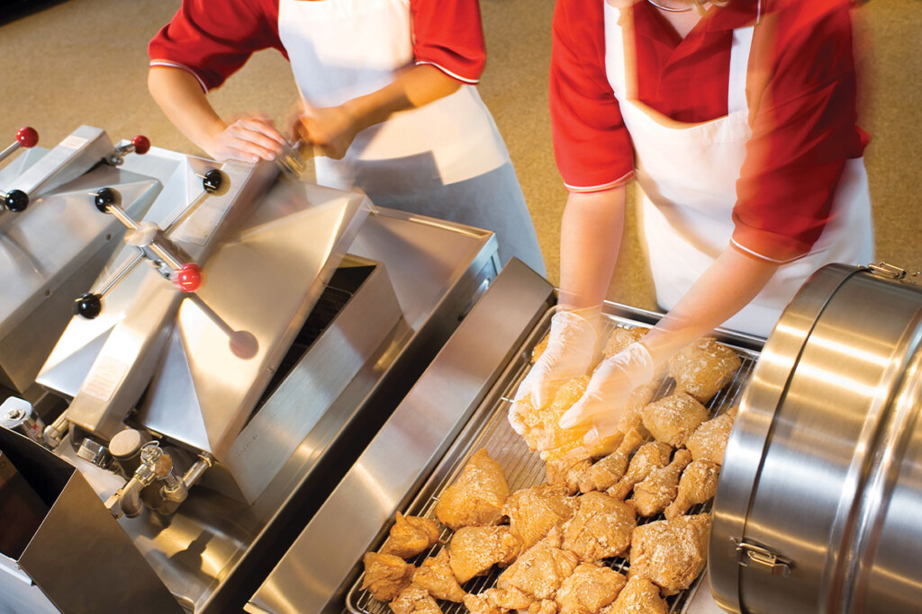 Size, oil-to-chicken ratio, energy efficiency, pressure level and the fry pot's shape serve as the main features to think about when specifying a pressure fryer. Courtesy of Henny Penny.