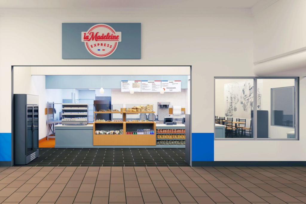 The bakery and cafe la Madeleine debuts its first round of express locations in Walmart stores. Courtesy of la Madeleine.